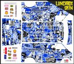 Blue Stickerbomb themed vinyl SKIN Kit & Stickers Fits Tamiya Lunchbox R/C Monster Truck